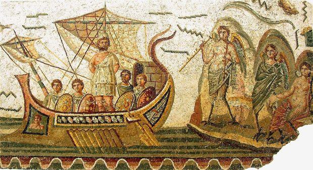 Mosaico romano del siglo II, de Cartago, que representa la escena de Ulises y las sirenas (Museo del Bardo de Túnez, foto de Giorces)